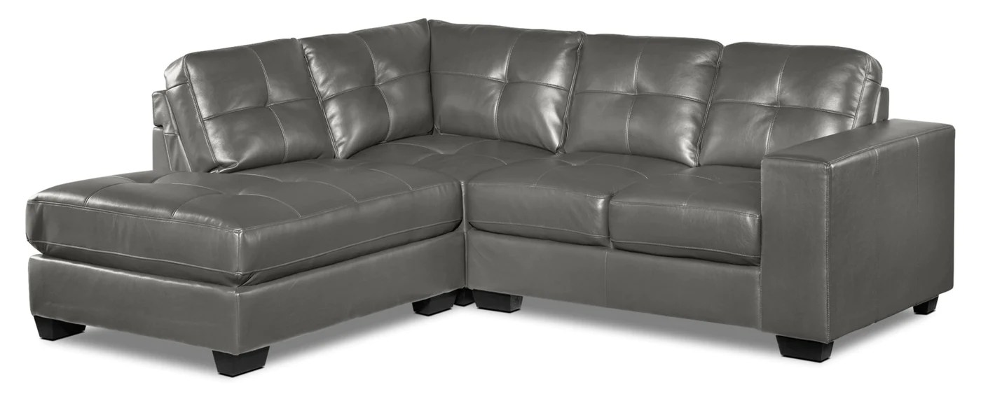 meldrid 3 piece sectional with left facing chaise dark grey