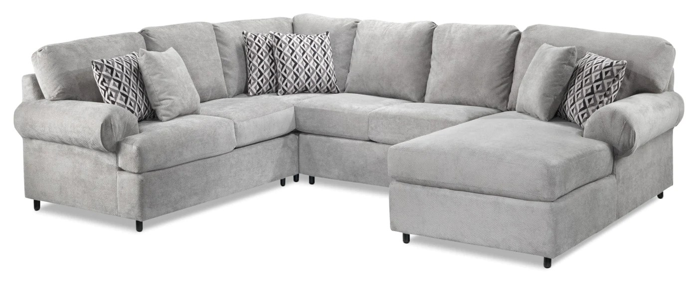 jupiter 4 piece sectional with right facing chaise ash