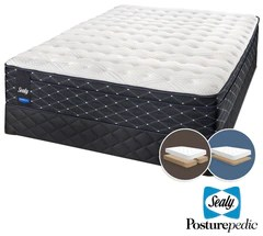 sealy narrative cushion firm king mattress and split low profile boxspring set