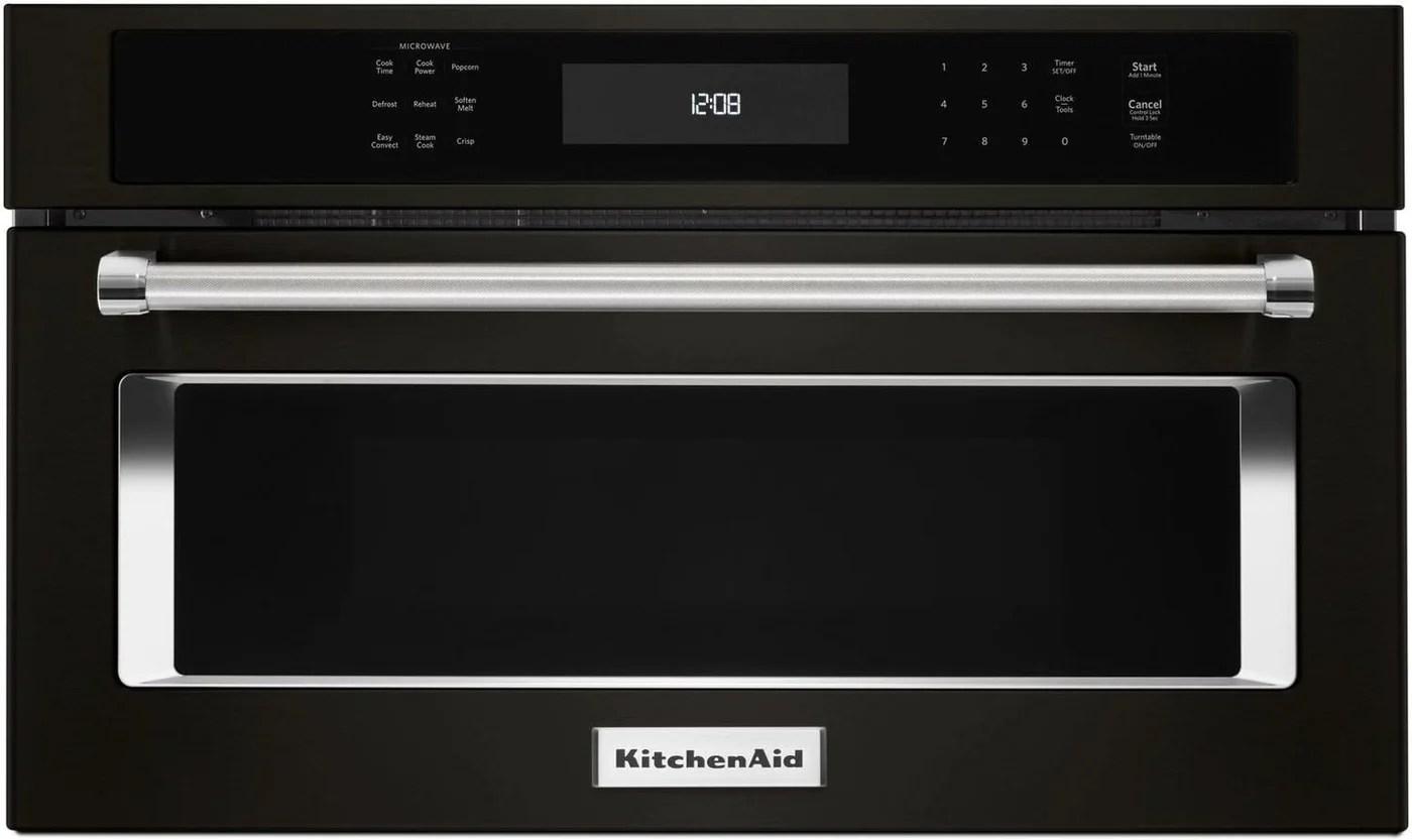kitchenaid black stainless steel built in microwave oven 1 4 cu ft kmbp100ebs