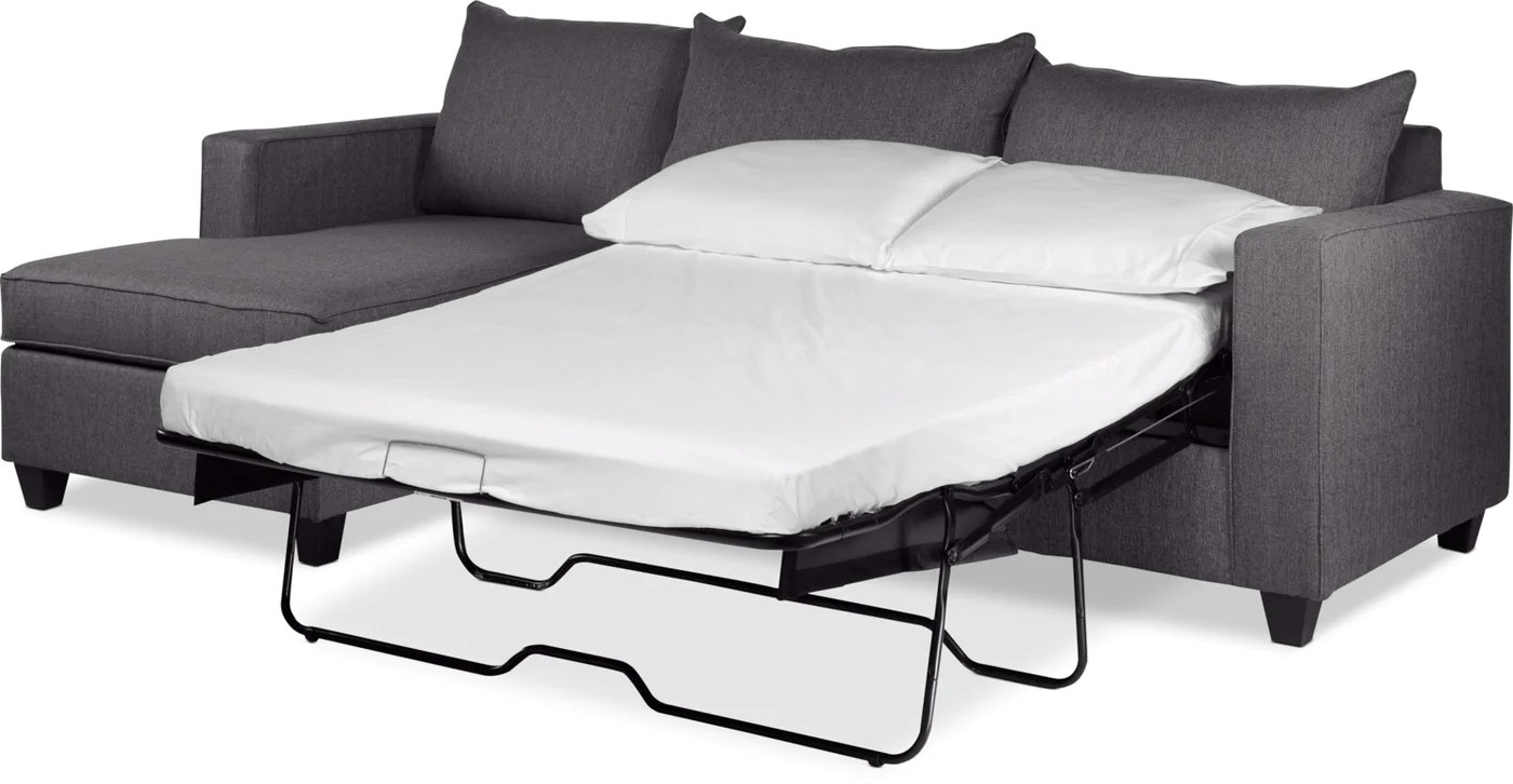 Halley 2 Piece Full Sofa Bed Sectional With Left Facing Chaise Slate