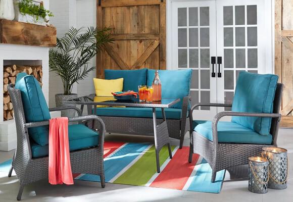 seasonal outdoor furniture at the brick