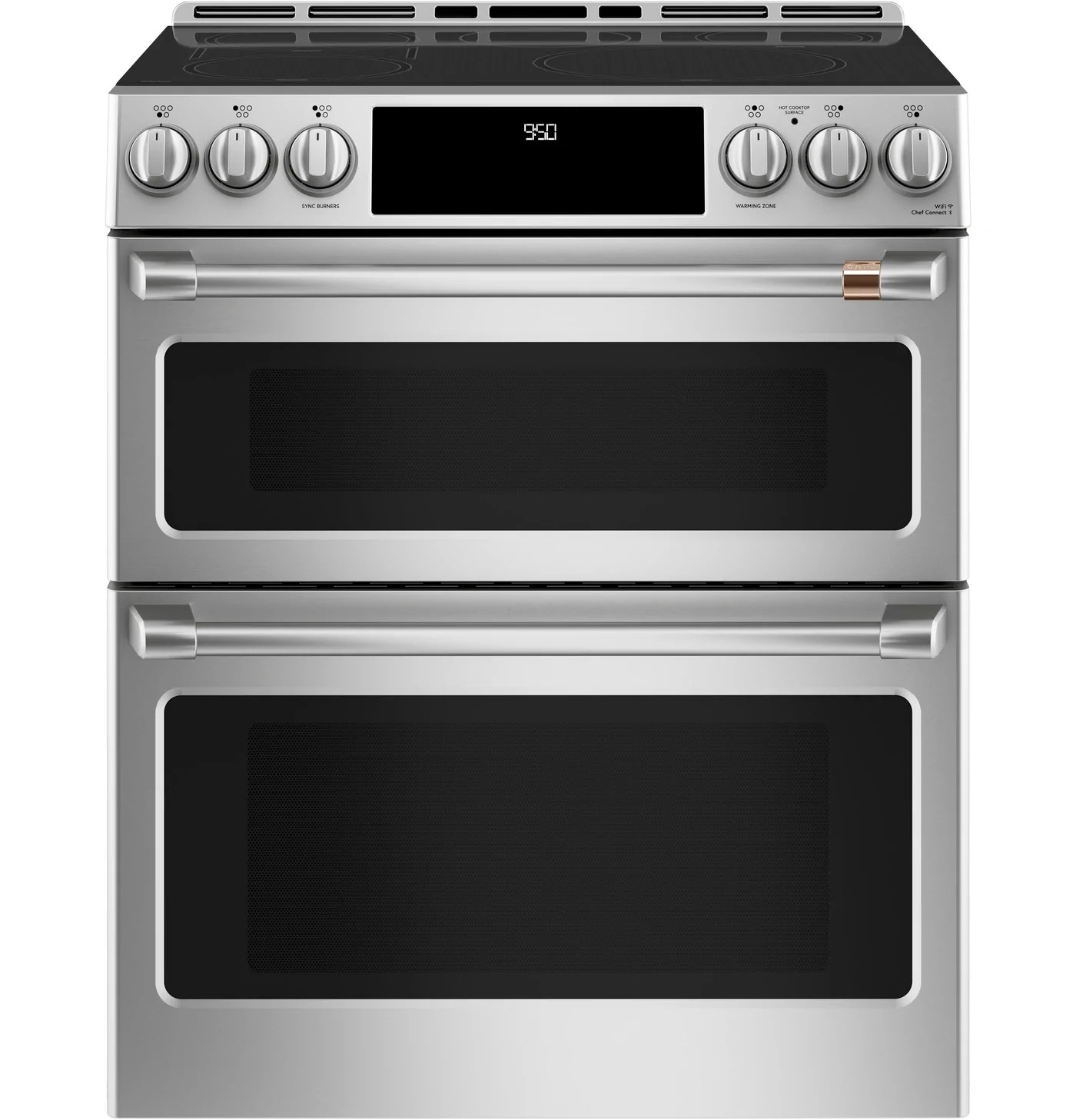 cafe slide in double oven electric range with convection cchs950p2ms1