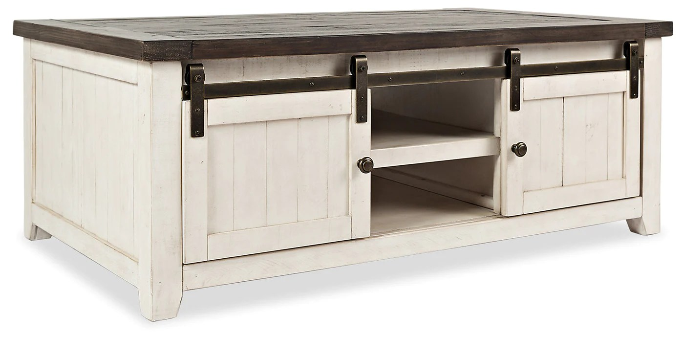 madison barn door coffee table white