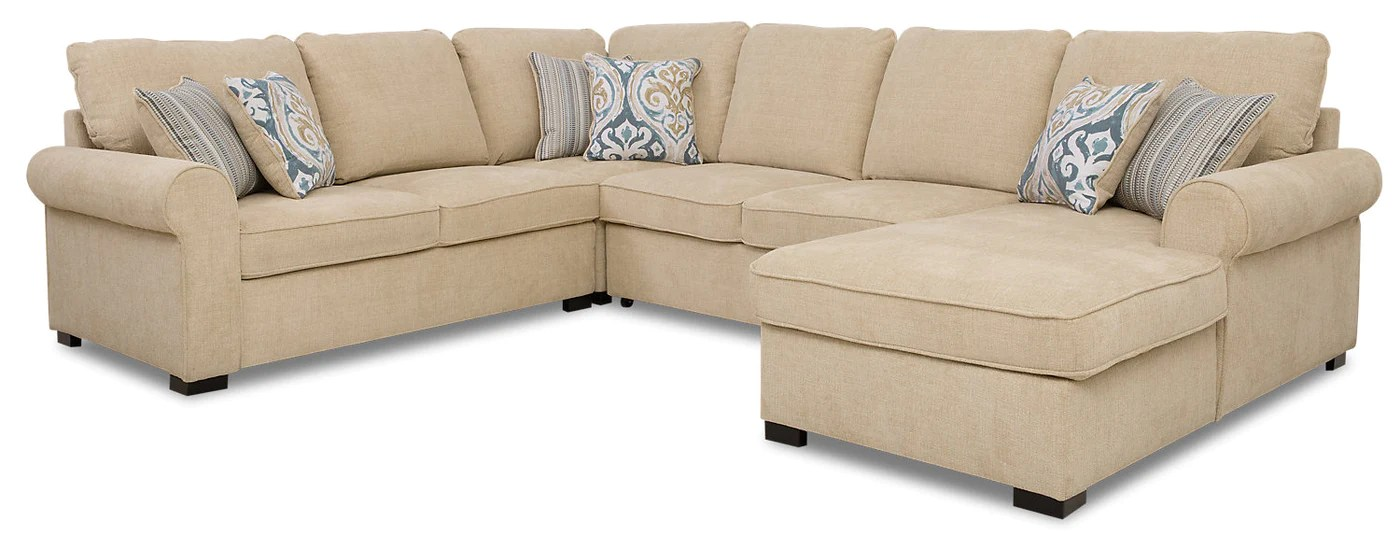 randal 4 piece fabric right facing sleeper sectional with storage chaise taupe
