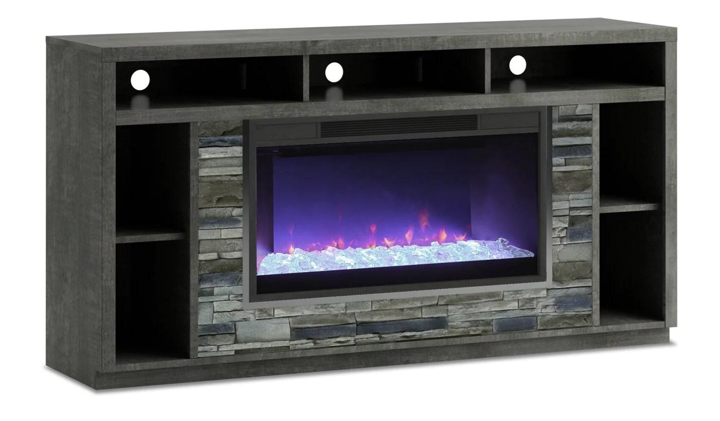meuble pour televiseur arlington de 70 po avec foyer a braises en verre anthracite