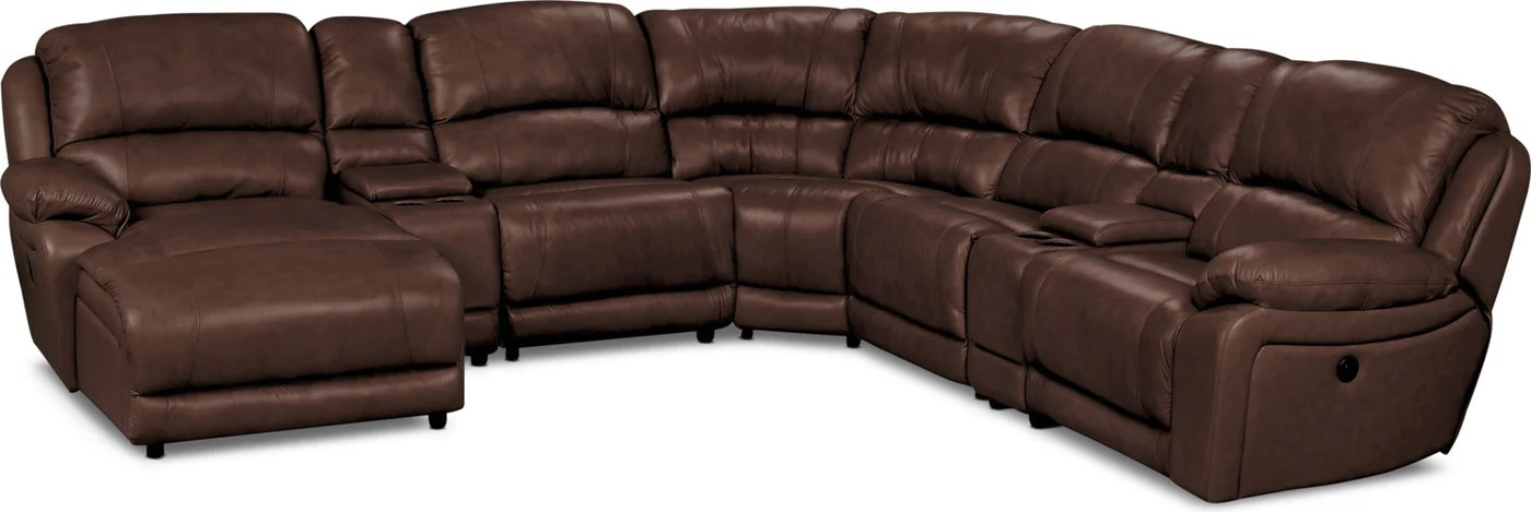 marco 7 piece genuine leather left facing power reclining sectional chocolate