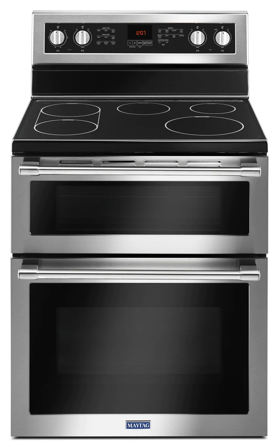maytag 6 7 cu ft double oven electric range with true convection ymet8800fz