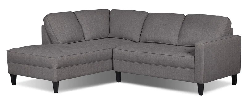 paris 2 piece linen look fabric left facing sectional granite sofa