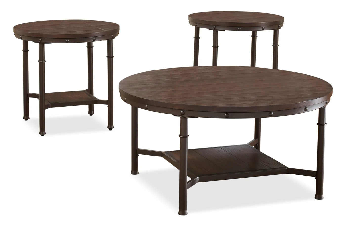 Sandling 3 Piece Coffee And Two End Tables Package The Brick
