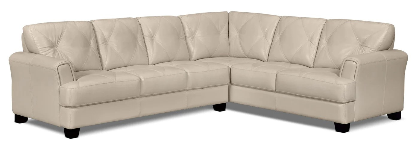 vita 2 piece 100 genuine leather right facing sectional smoke