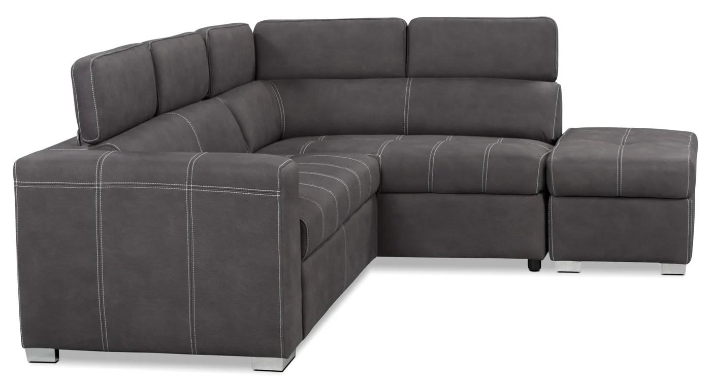 sofa sectionnel de droite drake 3 pieces en suedine avec sofa lit beton
