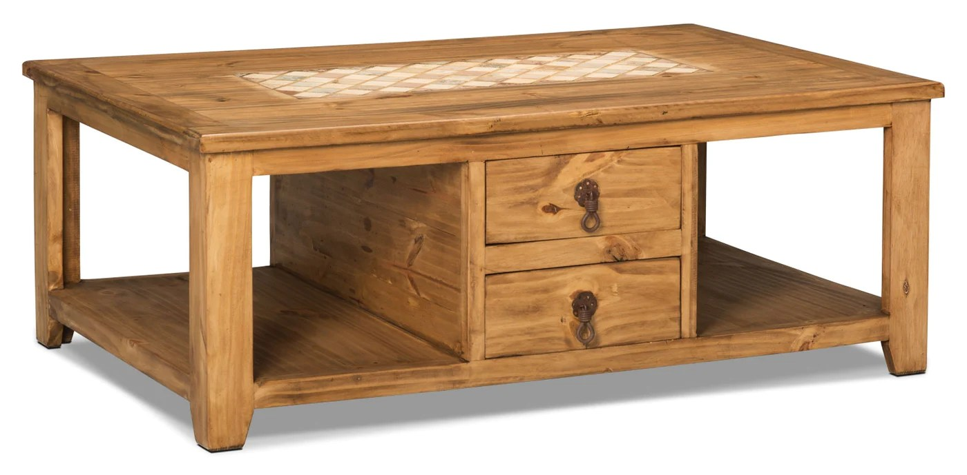 santa fe rusticos solid pine coffee table with marble inset