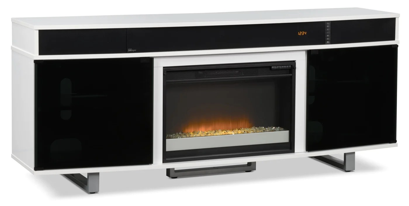 odesos 72 tv stand with glass ember firebox and soundbar white
