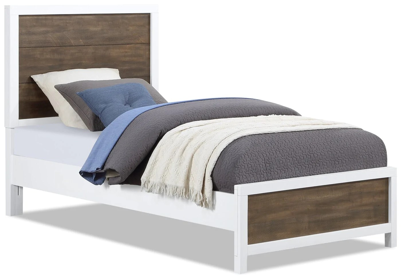 reese twin bed white and brown