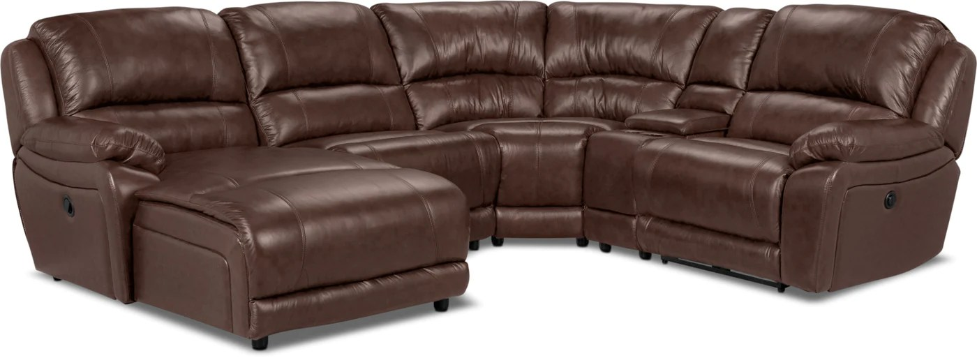 marco 5 piece genuine leather left facing power reclining sectional with inclining chaise chocolate