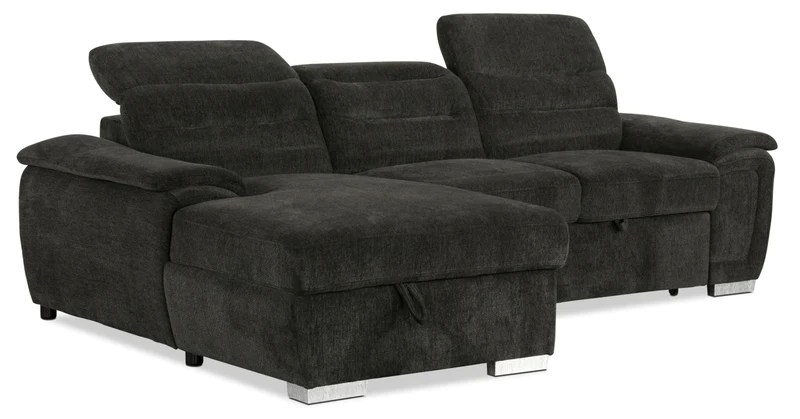thad 2 piece chenille left facing sleeper sectional grey sofa sectionnel de