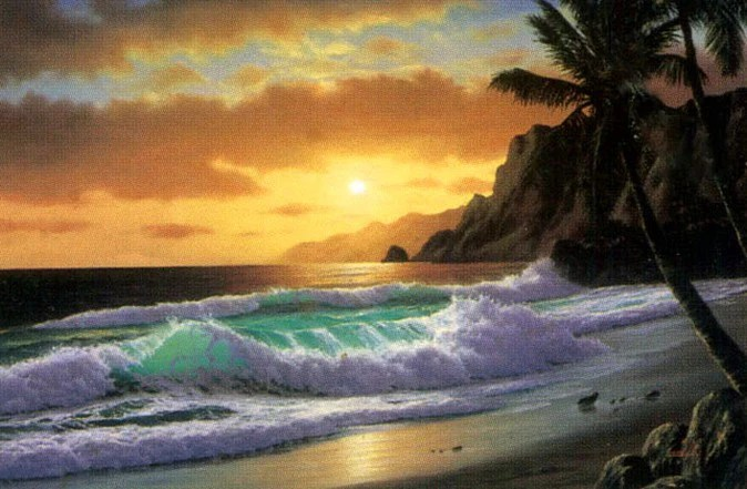 Palm Tree, Sunset Painting, Canvas Art, Canvas Painting