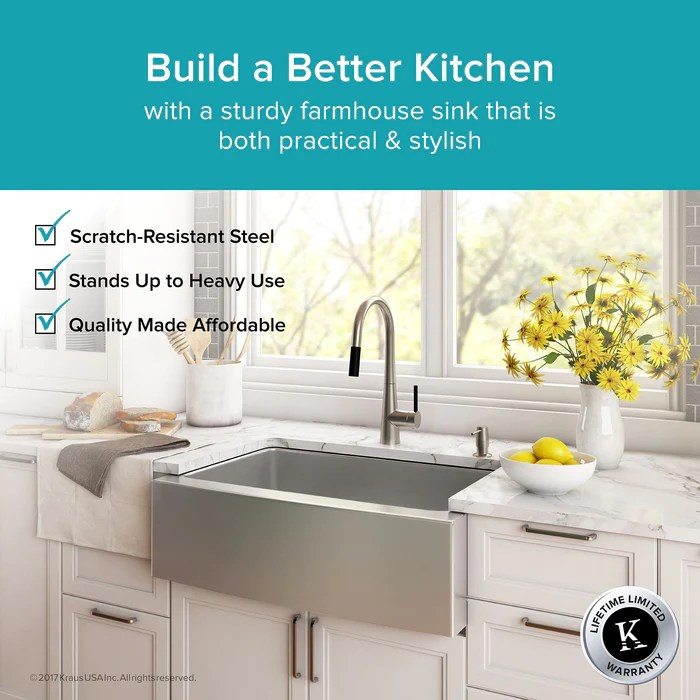 kraus khf200 33 33 inch farmhouse single bowl stainless steel kitchen sink with noisedefend soundproofing