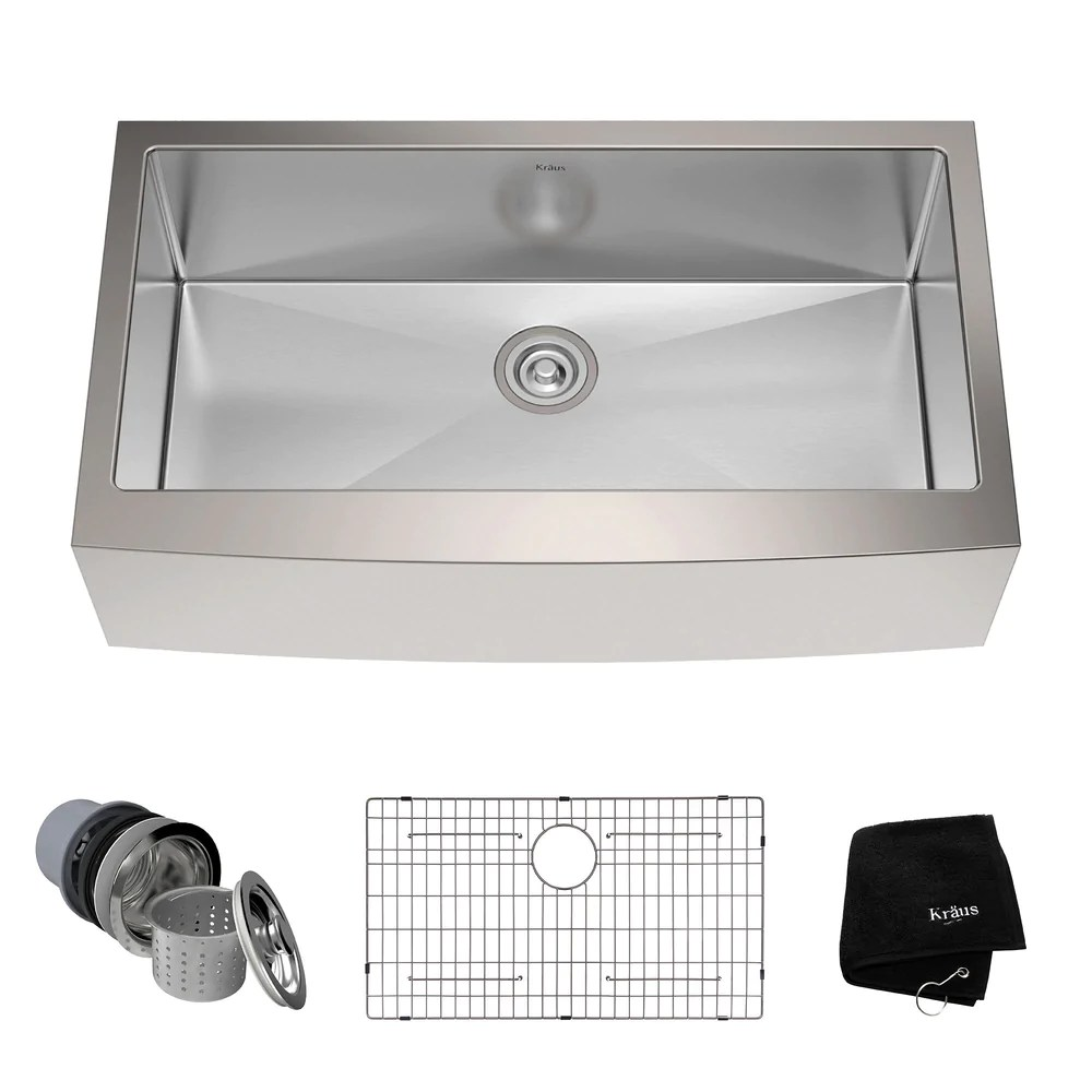 kraus khf200 36 36 inch farmhouse single bowl stainless steel kitchen sink with noisedefend soundproofing