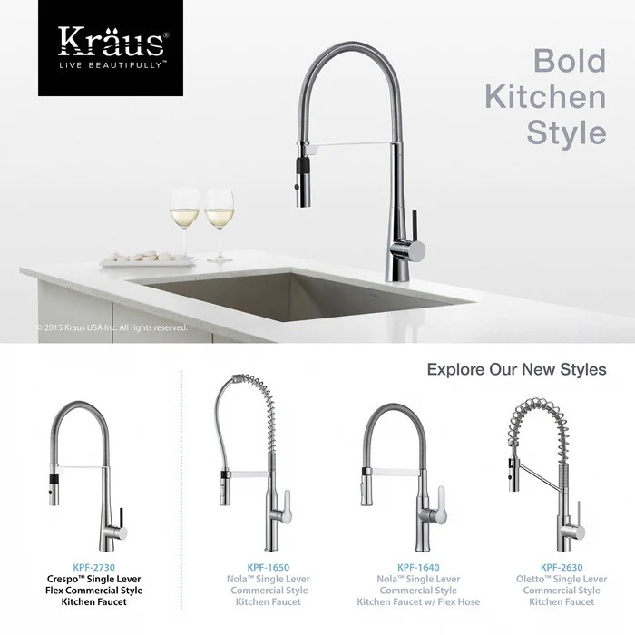 kraus kpf 2730ch crespo flex single handle commercial style kitchen faucet with dual function sprayer in chrome