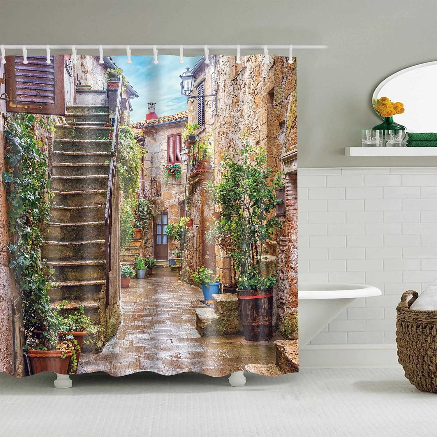 ally in old town tuscany country scenery shower curtain
