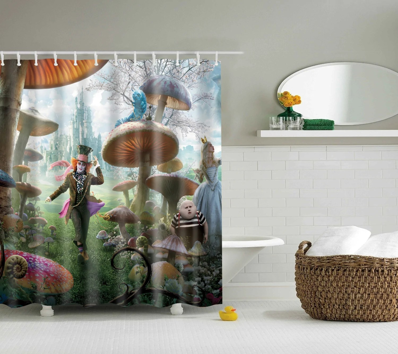 anime alice in wonderland shower curtain cartoon