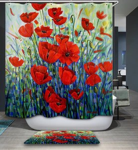 beautiful red poppies painting shower curtain bathroom decor