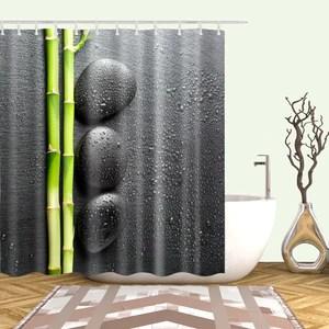 black backdrop zen stone green bamboo shower curtain bathroom decor