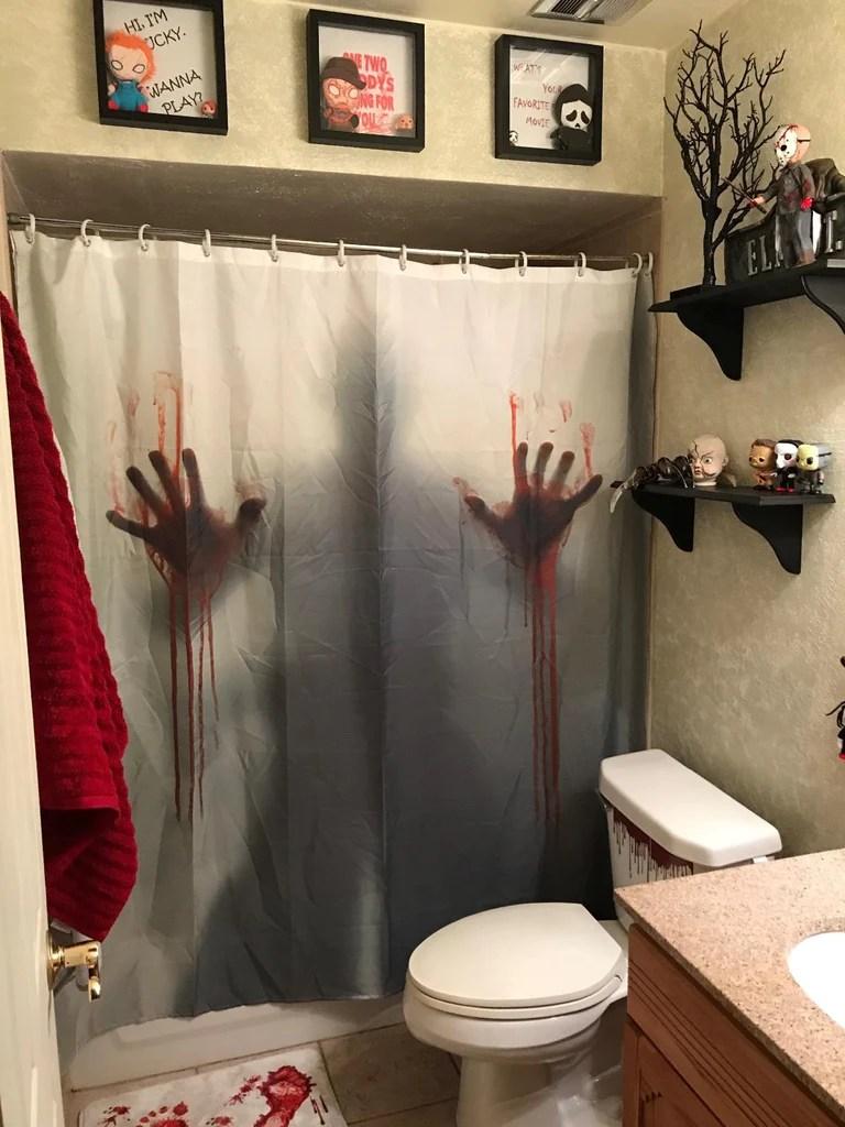 bloody hand print shadow scary crime scene shower curtain bathroom decor