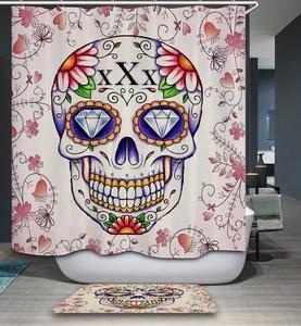 Diamond Eyes Floral Tattoo Sugar Skull Drawing Shower Curtain Gojeek