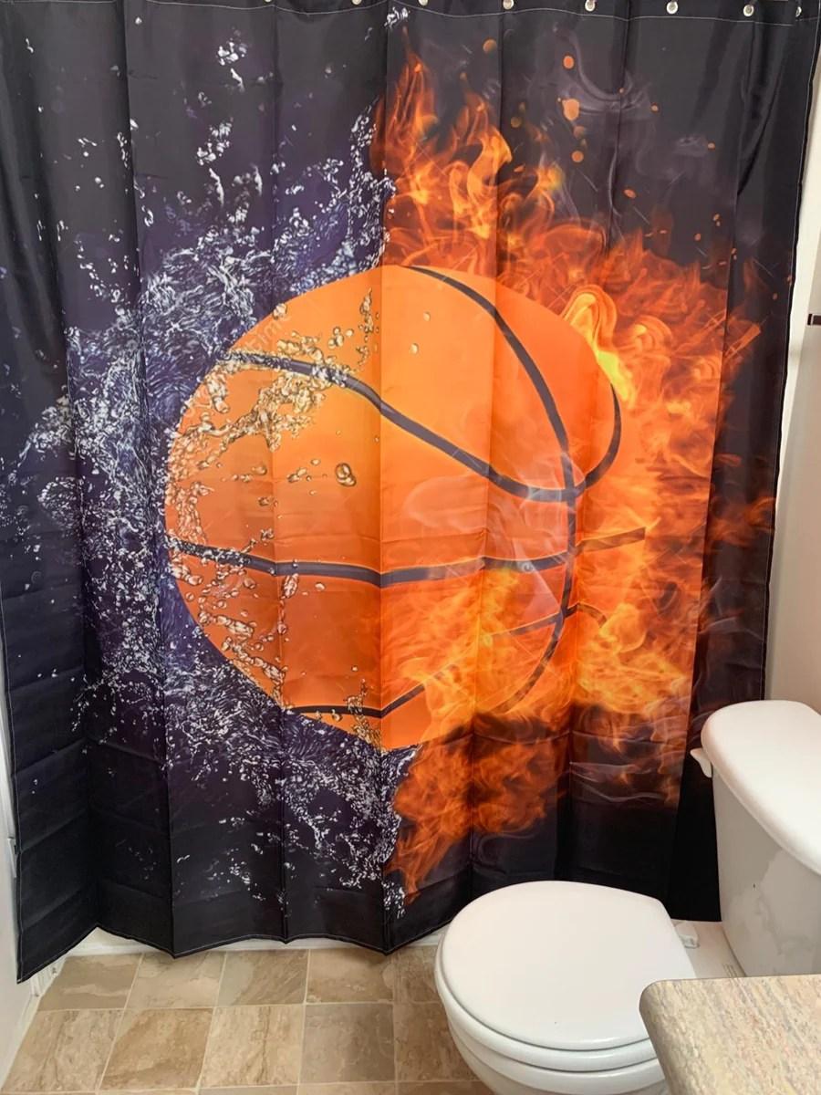 digitale kunst eis und feuer basketball dusche vorhang bad dekor gojeek