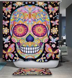 mexican mariposa vibrant sugar skull shower curtain