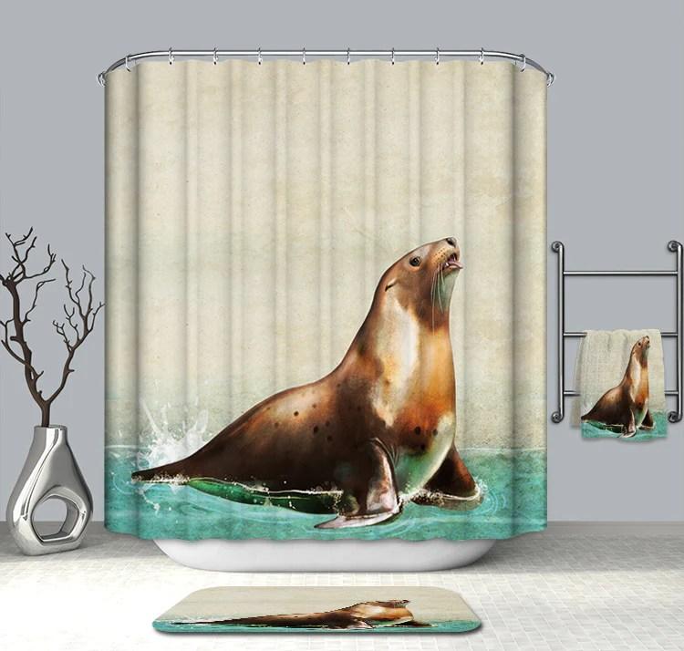 oil painting sea lion shower curtain gojeek