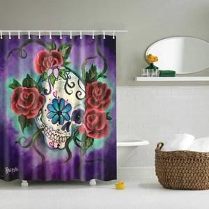 red rose sugar skull shower curtain purple bathroom decor