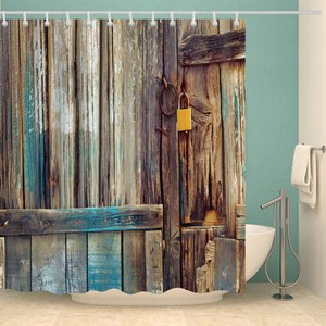 rustic aged shed old wooden door shower curtain bathroom decor