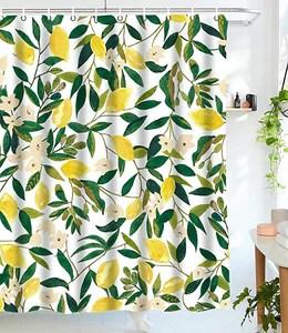 seamless fruit pattern yellow lemon shower curtain