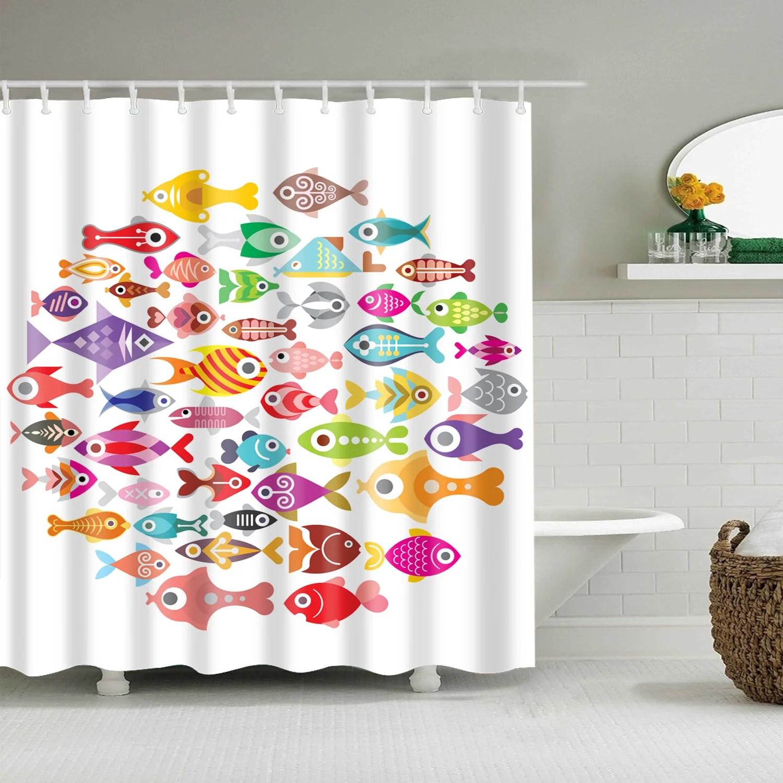 tropical cartoon kids fish shower curtain bathroom decor