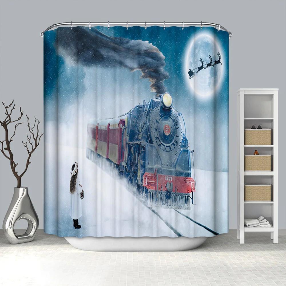 https gojeek com products winter christmas home rail transport train shower curtain