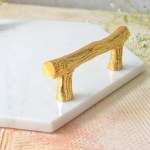 Hexagon Marble Serving Tray With Handle White Gold