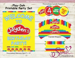 Playdoh Birthday Party Kit Play Doh Party Printables Sims Luv Creations