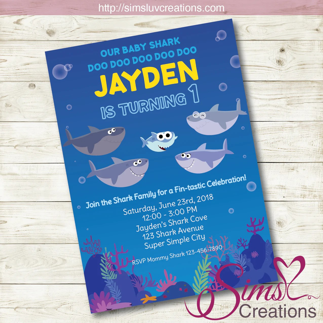 super simple baby shark birthday printable invitation baby shark party invitation