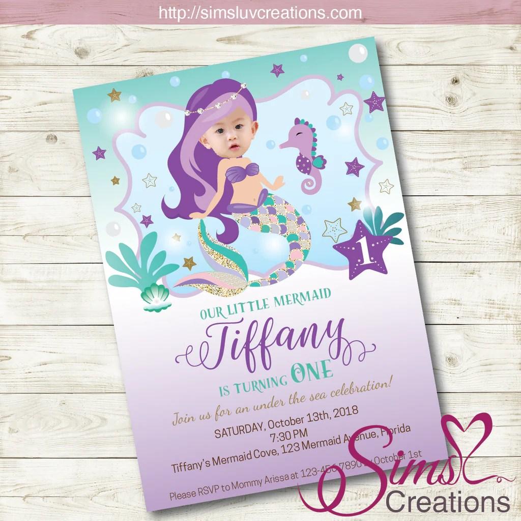 Little Mermaid Birthday Invitation Party Invitation Custom Photo Sims Luv Creations