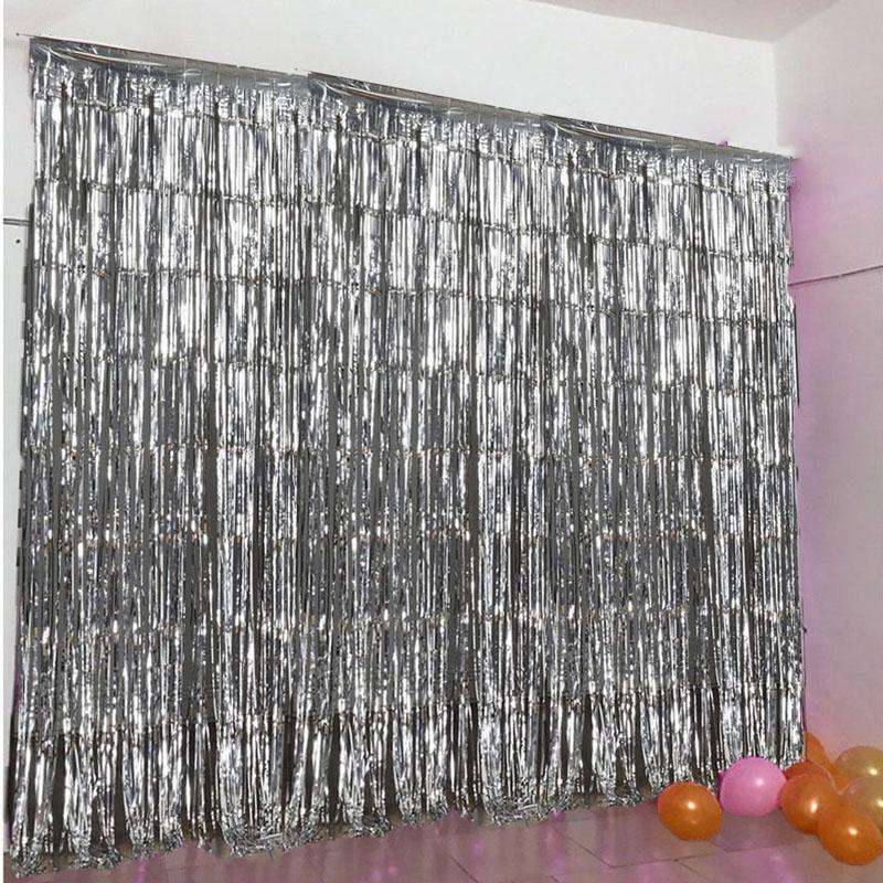 24 sq ft silver metallic foil shimmer fringe curtain photo party backdrops chaircoverfactory