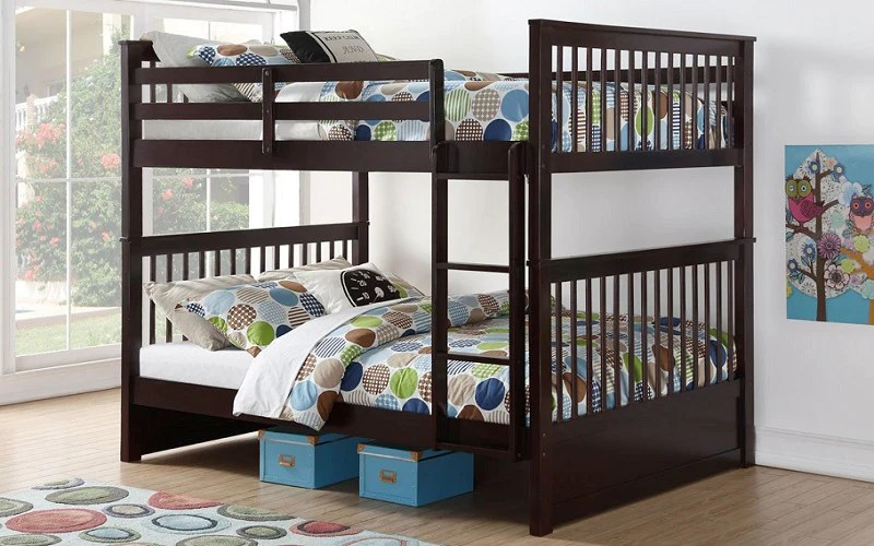 bunk bed double over double mission style with or without drawers solid wood espresso