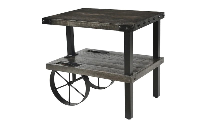 end table with wheels distressed grey black