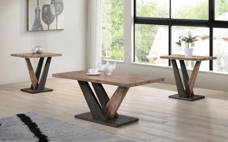 coffee table set 3 pc espresso distressed oak