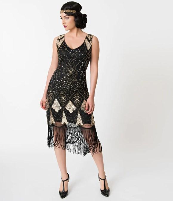 Unique Vintage Black & Gold Sequin Lina Fringe Flapper Dress