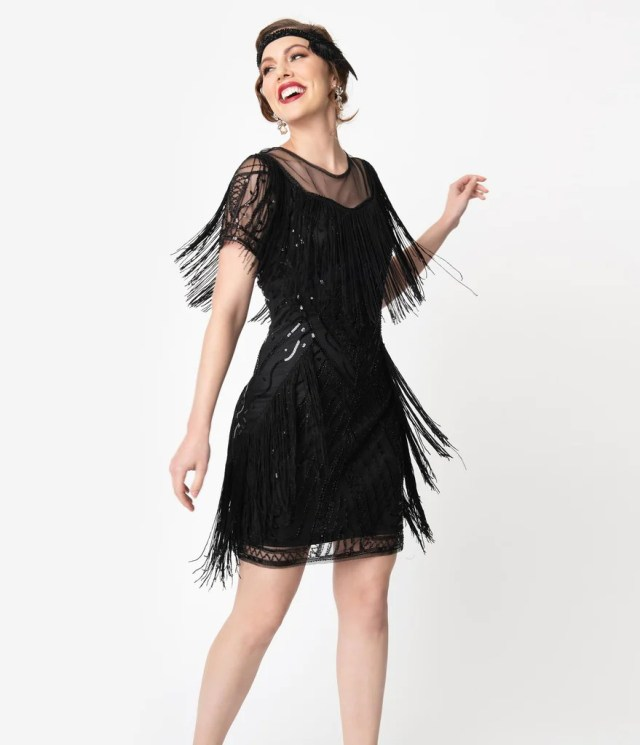 Unique Vintage Black Beaded Sleeve Fringe Le Havre Cocktail Flapper Dr