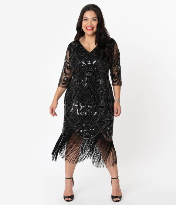 Unique Vintage Plus Size 1920s Black Beaded Lynette Fringe Flapper Dre